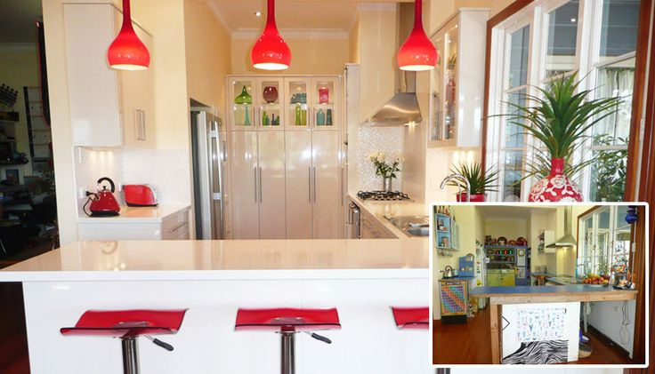 Before and after kitchen renovation project.