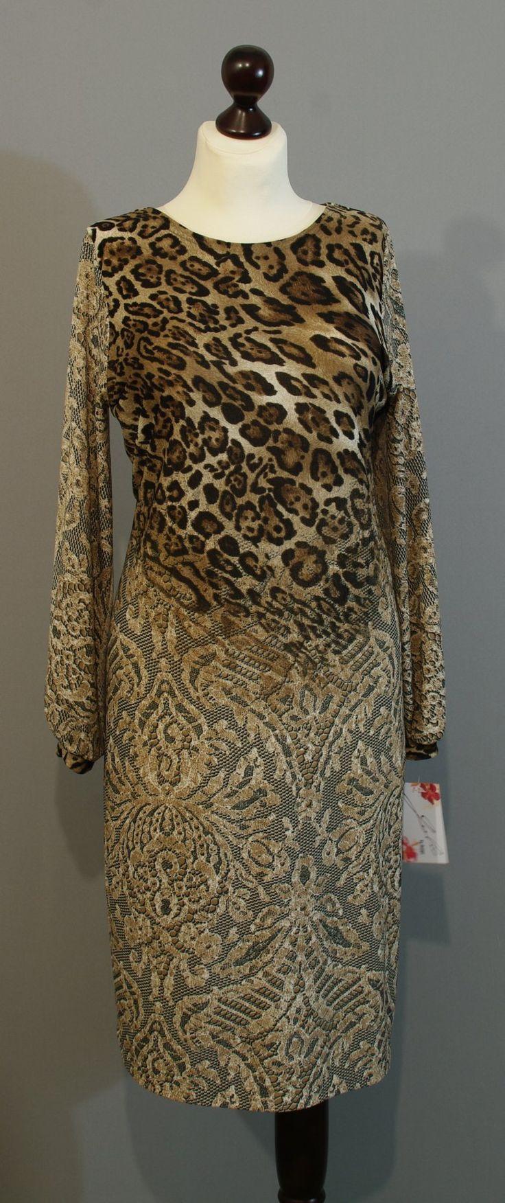 Бежево-коричневое платье с леопардовым принтом от дизайнера Юлии, Платье-терапия Киев lucky-gift (259)