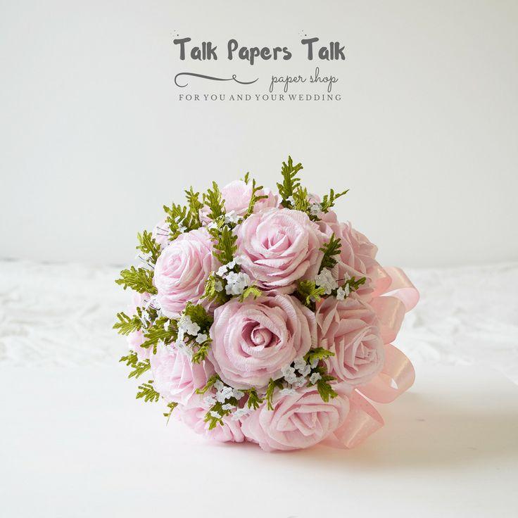 Blush pink wedding - Rose bouquet www.talkpaperstalk.etsy.com #paperflowers…