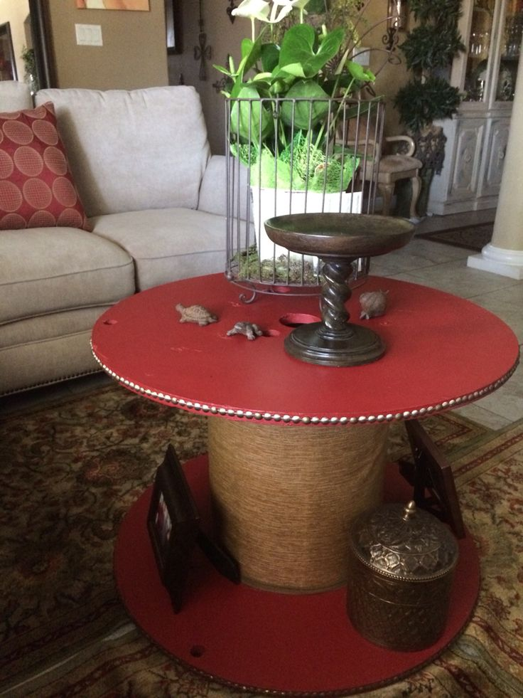 Electrical Wire Spool, Turned Coffee Table