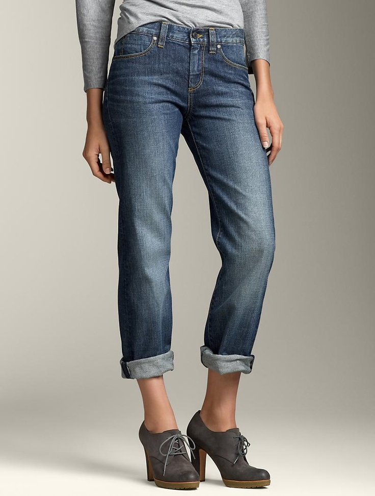 Boyfriend jeans are a must for those with long torsos and wee short legs.