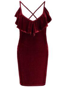 Ruffles Velvet Bodycon Dress - WINE RED S