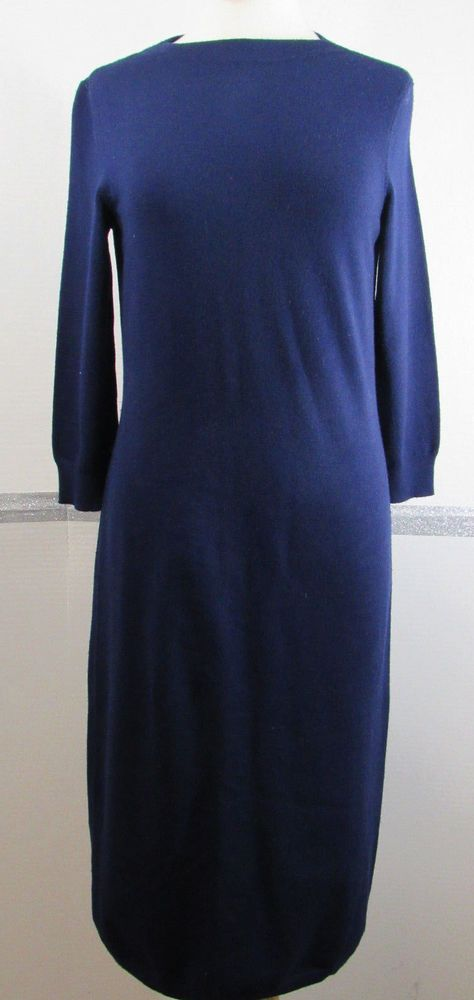 Talbots Merino Wool Sweater Dress Small Navy Blue Below Knee 3/4 Sleeve GRUC #Talbots #SweaterDress #AnyOccasion