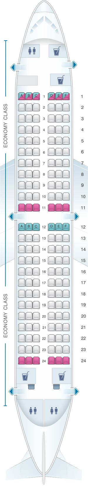 Seat Map Air Serbia Boeing B737 300