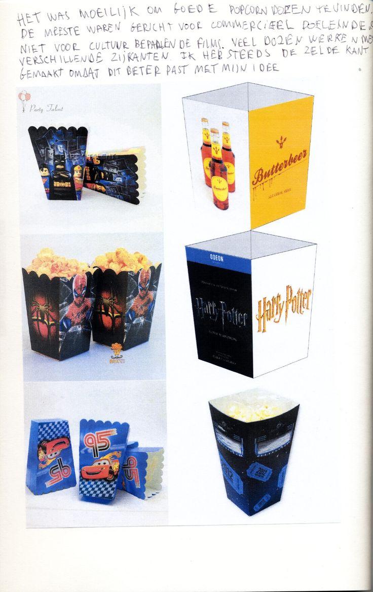POPCORNDOOS : Het was moeilijk om goede popcorndozen te vinden. De meeste waren gericht voor commerciele doeleinden en niet voor cultuurbepalende films. Veel dozen werken met verschillende zijkanten. Ik heb steeds dezelfde kant gemaakt omdat beter past bij mijn idee.