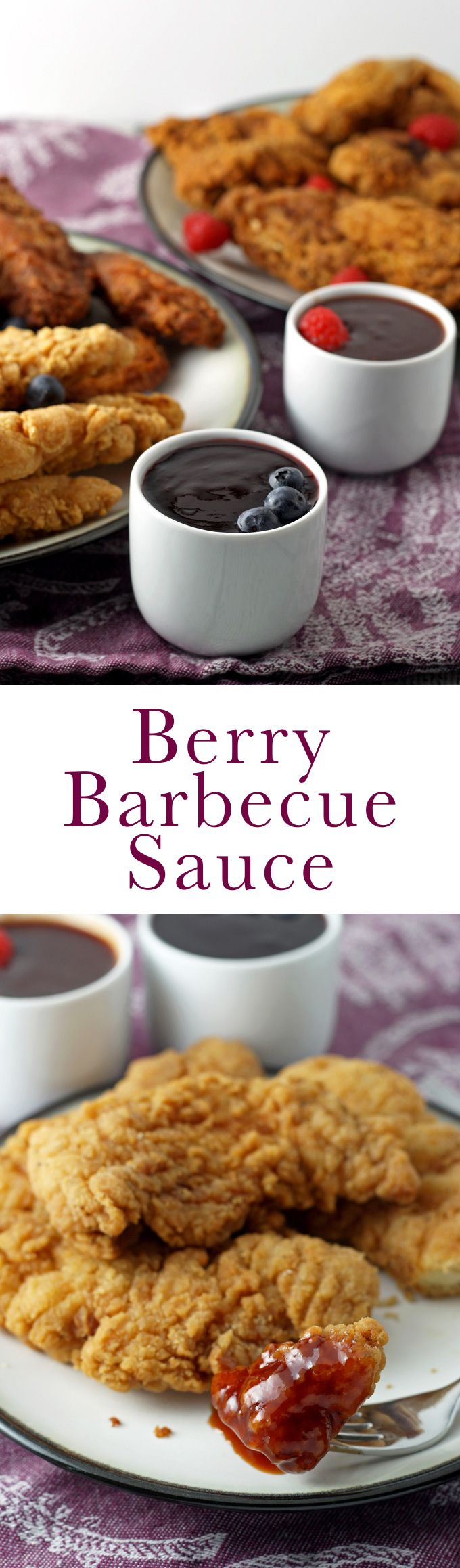#ad This berry barbecue sauce recipe can be made with raspberries or blueberries. Dip fried chicken into it for a fun, fruity addition to dinner! #SummerYum #cbias
