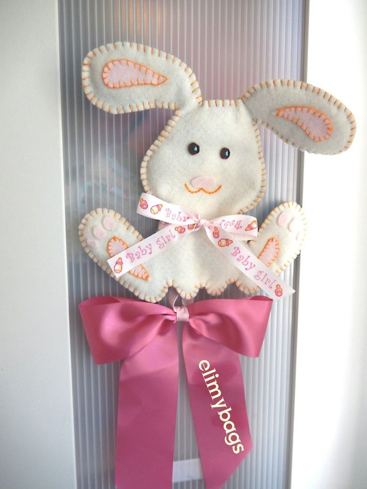 Fiocco nascita coniglietto rosa in pannolenci fatto a mano♥, by Elimybags, 20,00 € su misshobby.com