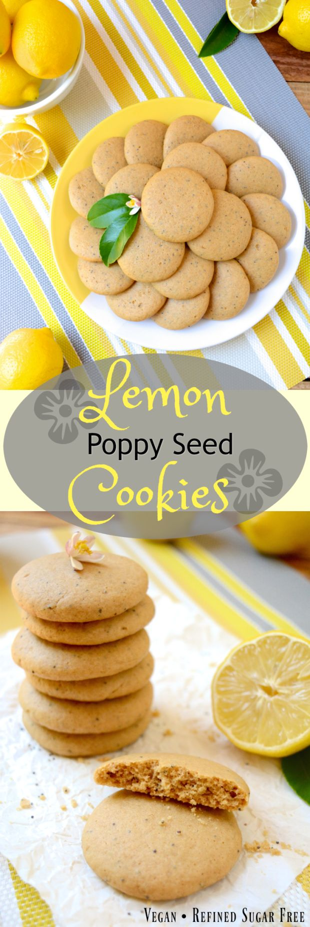 Soft, Vegan Lemon Poppy Seed Cookies, a simple recipe that's bursting with fresh lemon flavor. These melt-in-your-mouth cookies are free of egg, dairy and refined sugar –which makes them a healthier option! Flavored with fresh squeezed lemon juice, these soft and tender cookies are sure to be your new favorite treat!