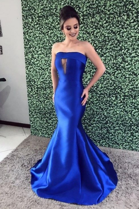 Royal Blue Key-Hole Strapless Sleeveless Long Solid Stretch Mermaid Evening Dress