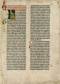 Bíblia de Gutenberg – uma das páginas da Bíblia de Gutenberg (Velho Testamento), também conhecida como a Bíblia de 42 linhas.