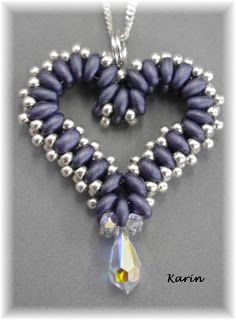 Beaded Heart - twins - Karin