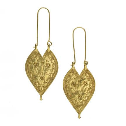 A pair of gold leaf earrings India 19th Century Kerala