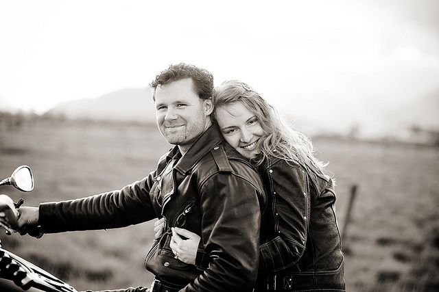 Love this motorcycle engagement pic by Alyssa Schroeder, via Flickr