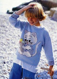 Cat intarsia sweater pattern