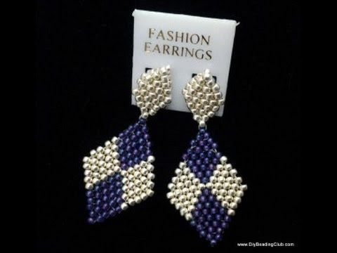Learn how to make diamond earrings w/ brick stitch ~ Seed Bead Tutorials