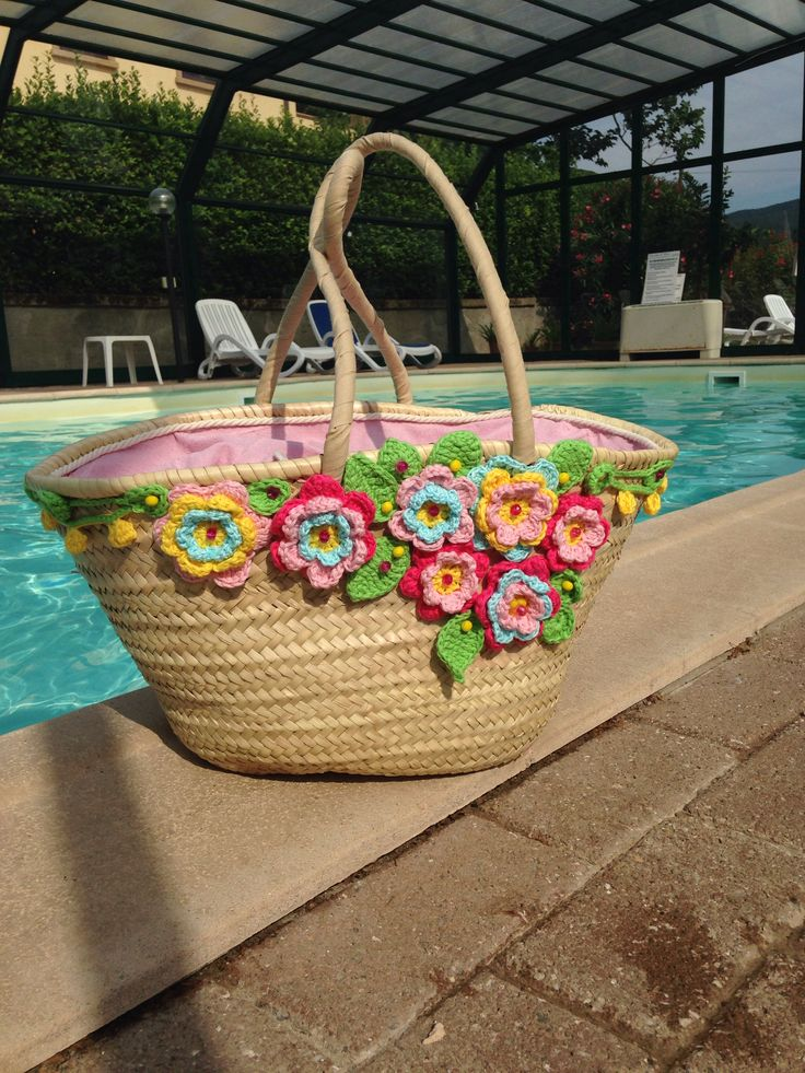straw bag with crochet flowers by me