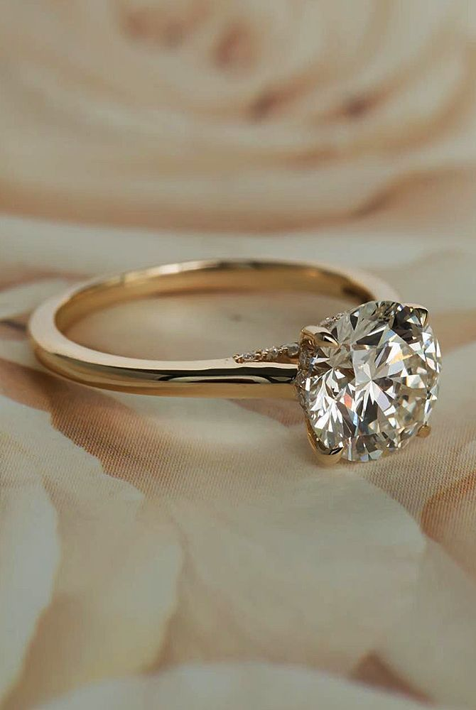 169637a8023742 Hafeez Center 14K Solid Gold DEF VS 1ct 6.5mm Round Brilliant Cut Halo  Solitaire Moissanite Engagement Rings for Women in 2019   •engagement rings•  ...