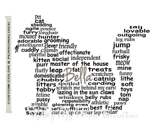 Personalized Cat Art Fat Cat Word Art Pet Art by ByMyWordCreations