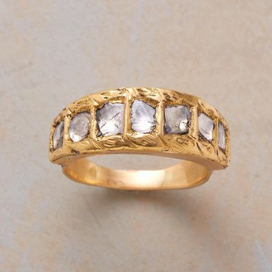 GUINEVERE RING  Our imposing coronet of polki diamonds evokes legendary queens and gallant knights. Flowery flourishes lead to the crowning glory. Handcrafted in 22kt gold. Whole sizes 6 to 9.