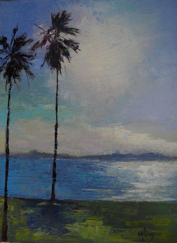 Florida Landscape Palm Tree Oil Painting  by CarolSchiffStudio, $395.00