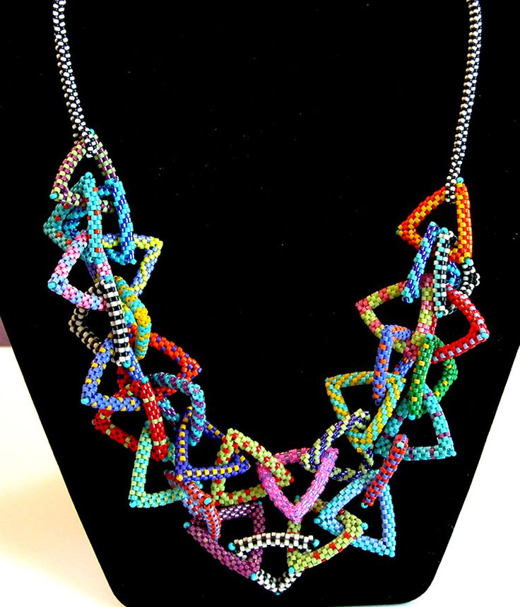 Nita E Kaufman - added 2nd strand to Donna T's necklace. Fun patterns; fun fun fun!!!