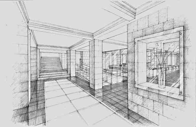 Similar to the last, the perspectiveness of the lines and entire space alongside selective hatching and cross hatching make this complex.