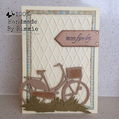 card with bicycle - #bikecard - grass border - Marianne design die - made By Rimmie: CAS