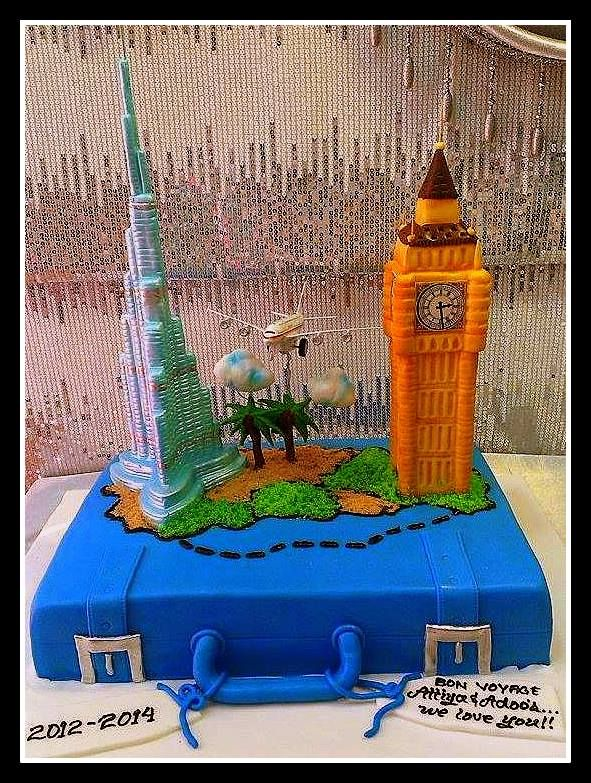 Farewell cake with Big Ben and Burj Khalifa