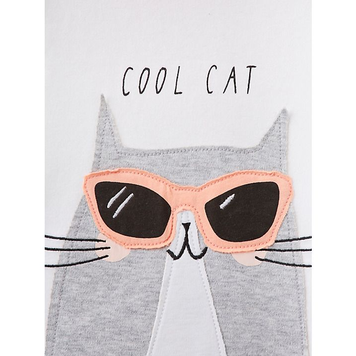 Buy Baby Joule Maggie Cool Cat T-Shirt, White, 0-3 months Online at johnlewis.com