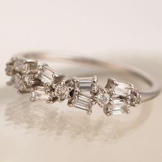 「 바게트 리본 」 다이아몬드 링 대응 금 종: K18 화이트 골드 옐로우 골드/K18/K18 핑크 골드 (사진은 K18WG) 10P05Dec15