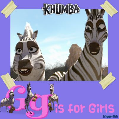 """G is totally for the GIRLS!! <3 <3 <3 And these Girls are the cheerleaders of the herd. Their favourite cheer is: """" Shake that tail, show your stripes, kick that ball with ALL your might!""""  (((whhoop))) Let's hear it for the girls...one more time, go on!! ;) )  MORE GAMES / APPs OUT SOON !!!  #KhumbaTheGAME #GongRocker"""