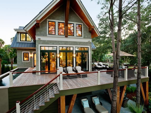 Less contemporary design but very cool deck and the beams on the lower level.