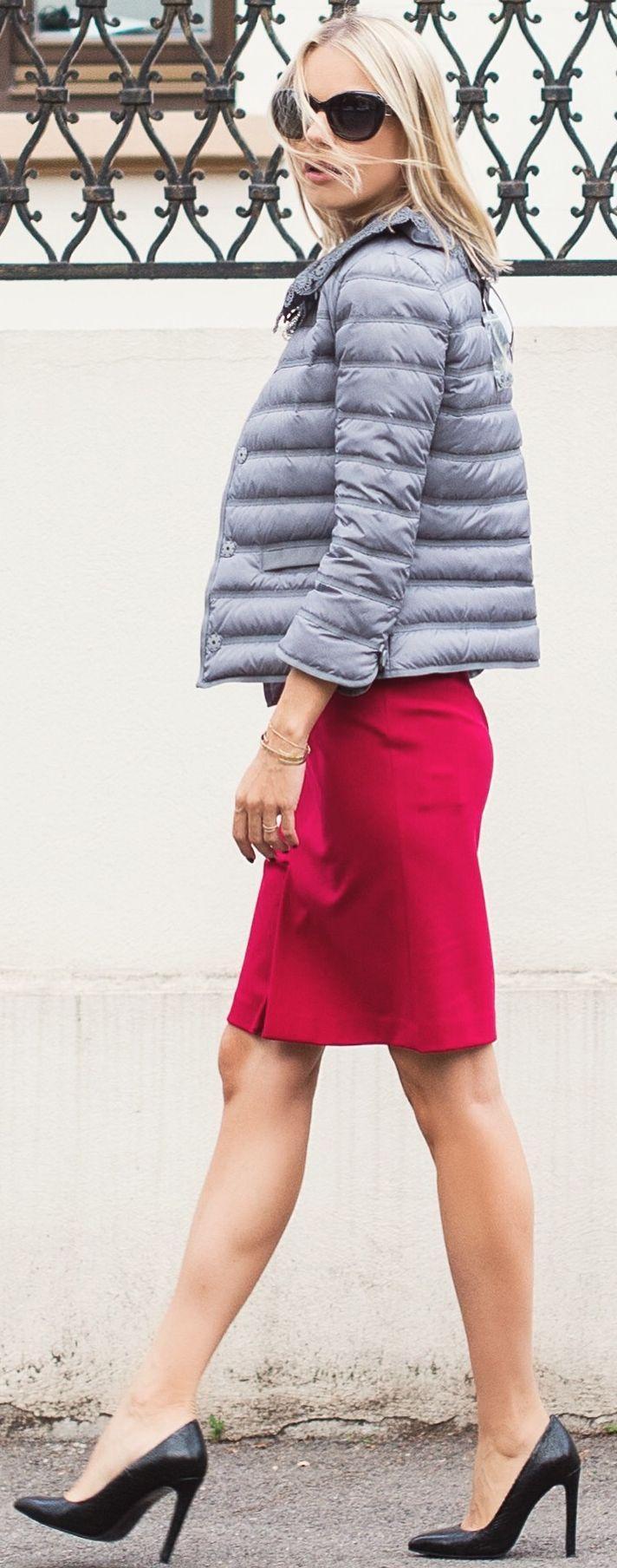 Catalina Grama Black Heels Red Skirt Grey Lace Collar Puffer Jacket Fall Inspo