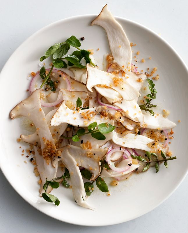 If your soiree is starting off as a dinner party, this is the perfect salad to make you feel a little decadent: Mushroom and Watercress Salad with Breadcrumbs from @Bon Appetit Magazine