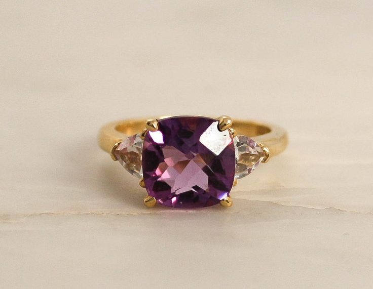 Natural Cushion Cut Amethyst and White Topaz Cocktail Ring in 14K Gold