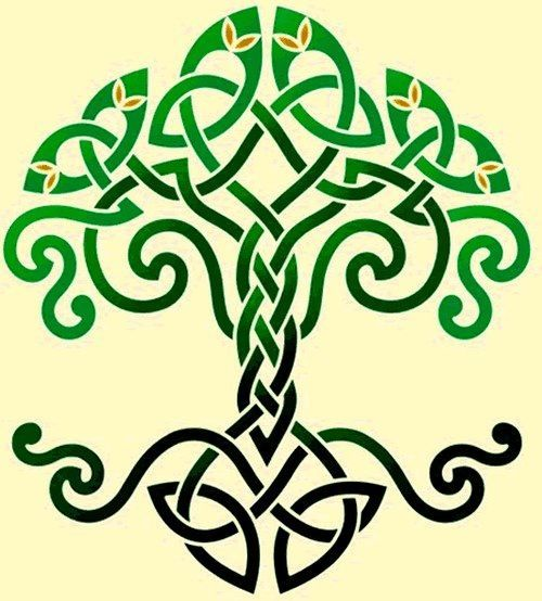 Attractive Green And Black Celtic Tree Of Life Tattoo Design