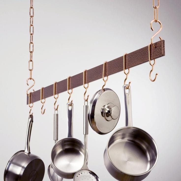 Hammered Copper Hanging Bar Pot Rack - Hanging Pot Racks at Pot Racks Galore