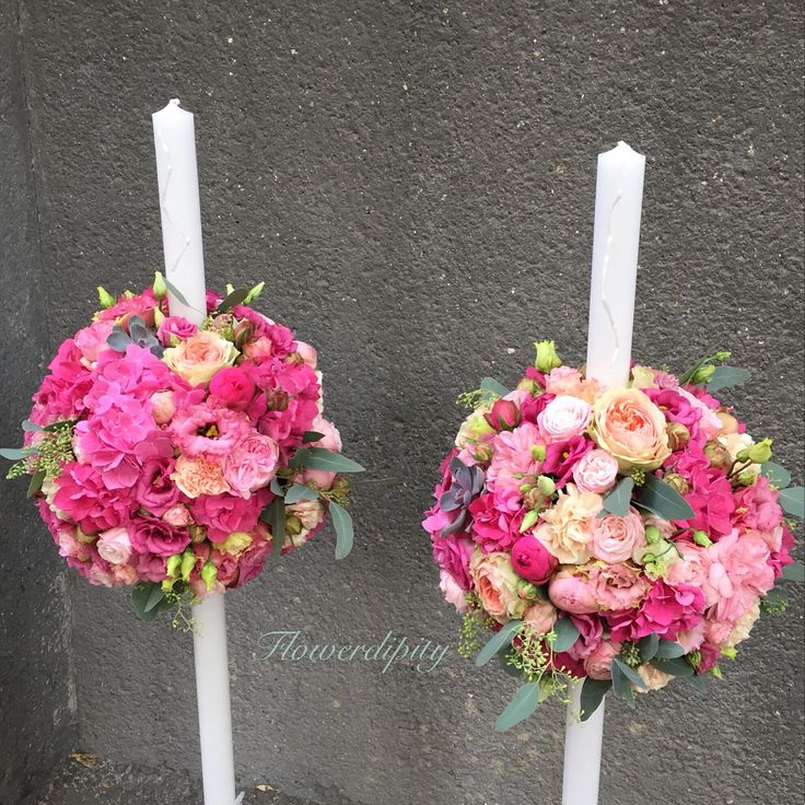 Wedding candles  #fuchsia #wedding #candle #flowerdipity #event