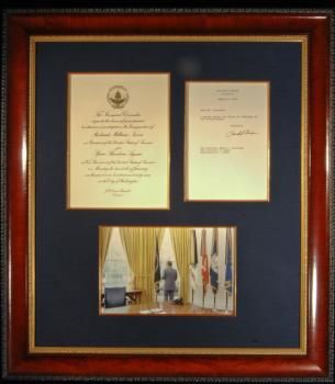 """RICHARD M. NIXON: Original, authentically-signed true copy of the resignation letter signed by President Nixon. The few letters Nixon signed are increasingly hard to find, and represent a pivotal point in American history.  Befitting its value and historical significance, this letter has been professionally framed using the finest archival standards. Measuring 28""""H x 25""""W, this beautiful and historic presentation features a color photograph of President Nixon alone in the Oval Office."""
