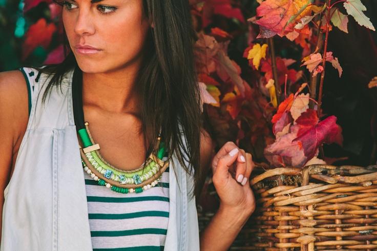 Lola & Syd Green Cotton + Bead Necklace