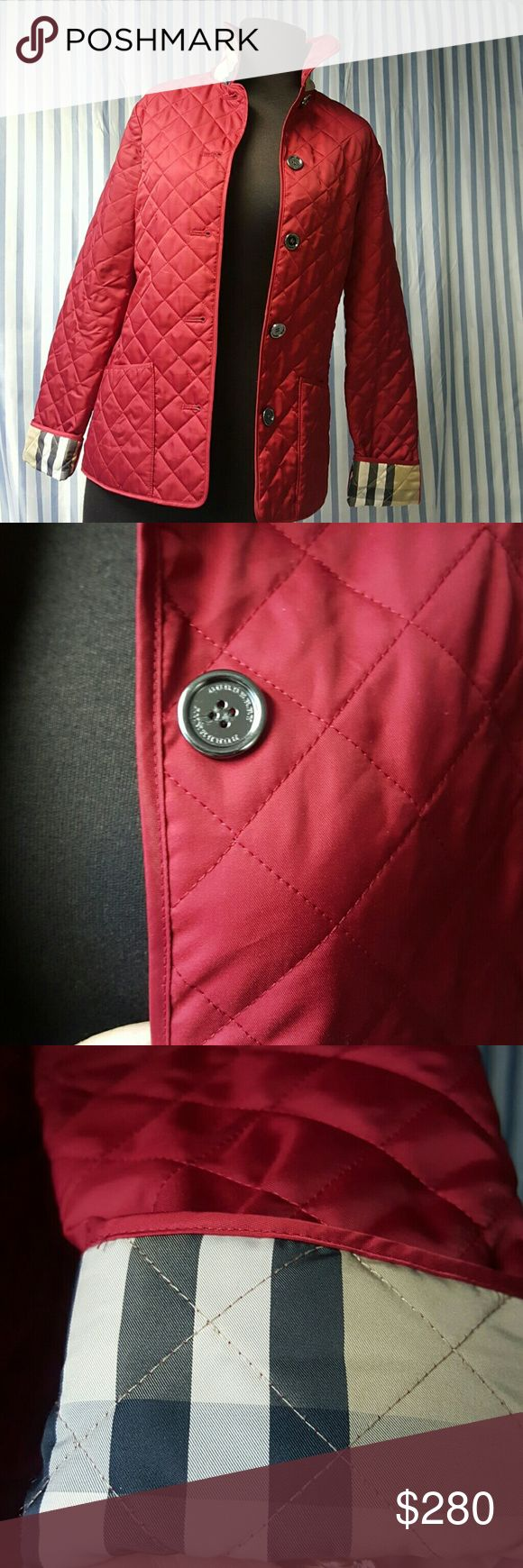 Burberry  jacket Red Burberry jacket with the Burberry  print on neck of jacket and sleeves Burberry Jackets & Coats