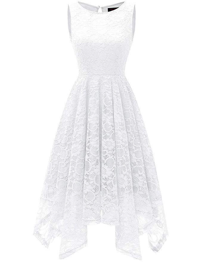 552e26a7dd2 DRESSTELLS Women s Bridesmaid Floral Lace Handkerchief Hem Cocktail Party  Dress White M