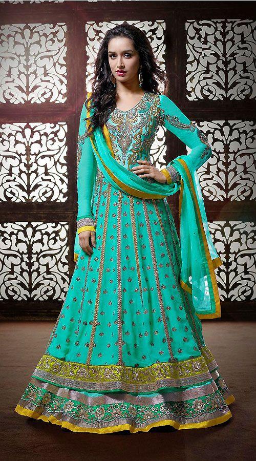 Shraddha Kapoor Turquoise Georgette Bollywood Salwar Kameez