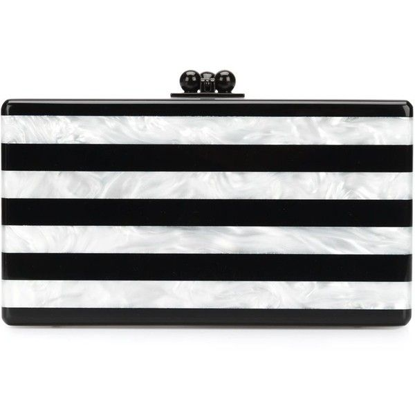 Edie Parker 'Jean' striped clutch ($1,640) ❤ liked on Polyvore featuring bags, handbags, clutches, white, stripe handbag, stripe purse, edie parker handbags, edie parker and striped handbag