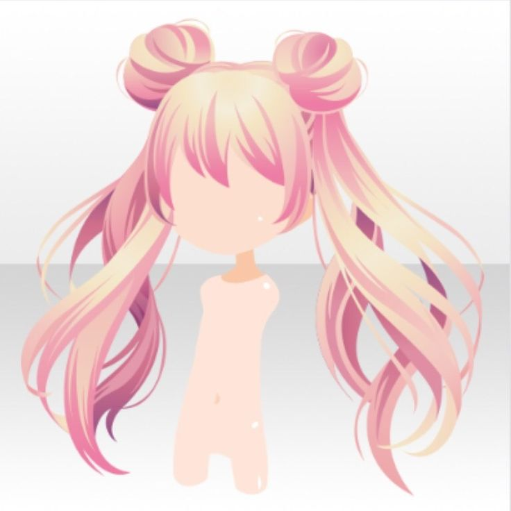 (Hairstyle) Magical Twin Horn Buns Hair Ver.A Pink