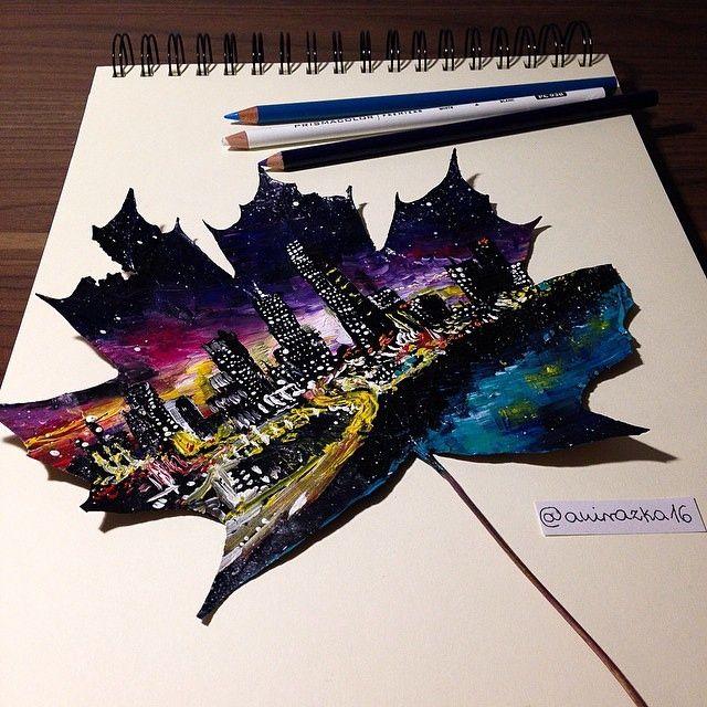 Този 16-годишният художник използва паднали листа, за да се създаде зашеметяващ картини.