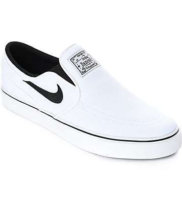 4eb854f9e2c674 Nike SB Janoski White   Black Canvas Slip On Women s Skate Shoes ...