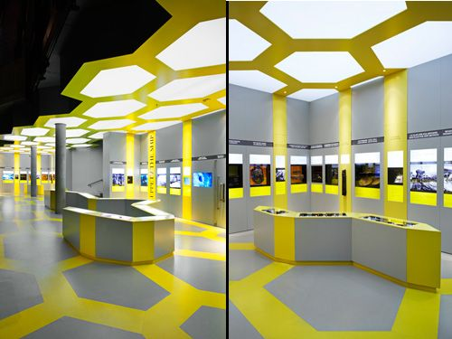 Exhibition Stand Design Trends : Yellow and gray honeycomb bee vasa museum electric