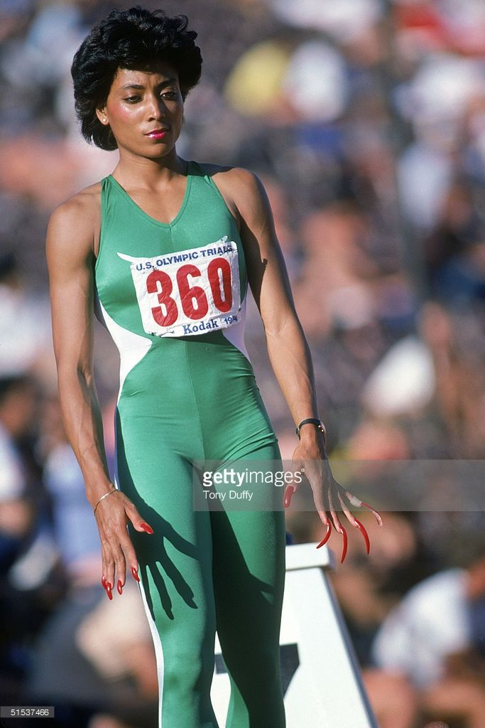 Florence Griffith Joyner focuses as she prepares for competition during the 1984 Olympic trials.