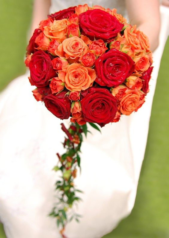 Orange & Red rose bridal bouquet A round bouquet of orange and red roses, with trailing ivy. A unique wedding bouquet.
